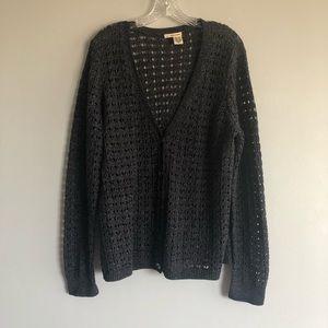 DKNY Crochet Knit Button Down Cardigan Size XL